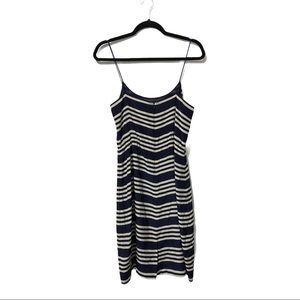 J crew navy striped knee length dress size 4